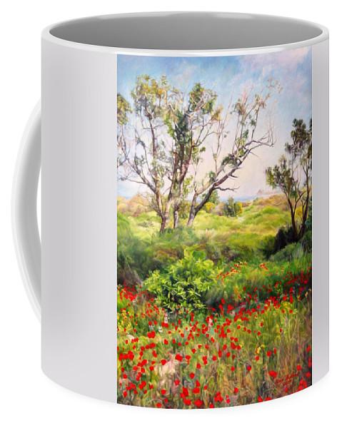Artist Maya Bukhin Coffee Mug featuring the painting Poppies by Maya Bukhina