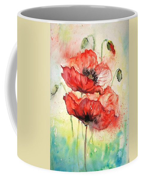 Abstract Coffee Mug featuring the painting Poppies by Natalja Picugina