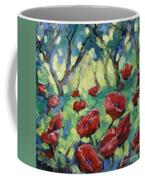 Art Coffee Mug featuring the painting Poppies Through The Forest by Richard T Pranke