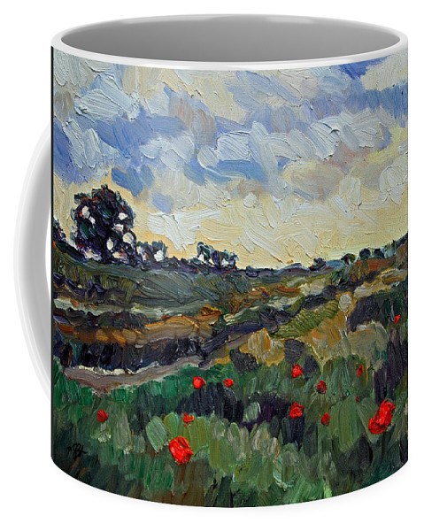 Landscape Coffee Mug featuring the painting Poppy Dots by Stefan Boettcher