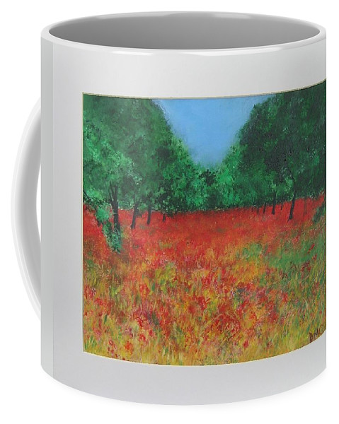 Poppy Coffee Mug featuring the painting Poppy Field In Ibiza by Lizzy Forrester