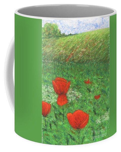 Nature Coffee Mug featuring the pastel Poppy In Country by Stella Velka