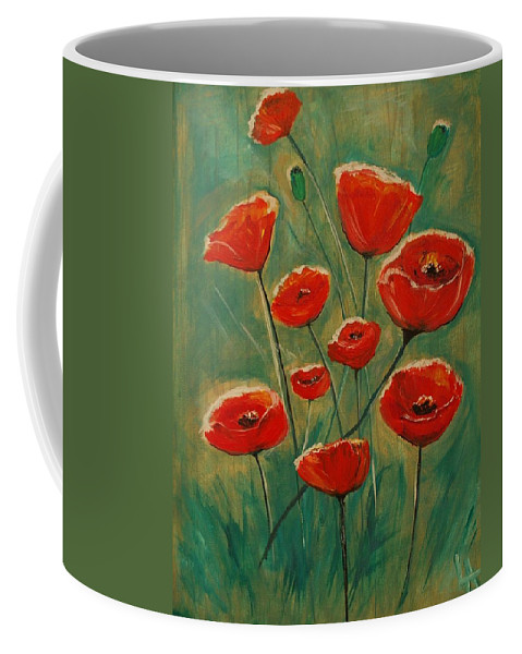Poppy Coffee Mug featuring the painting Poppy Surprise by Leslie Allen