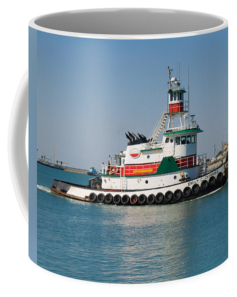 Emily; C; Cheramie; Tug; Tugboat; Bow; Offshore; 3600; Hp; Class; Work; Working; Workboat; Dredge; D Coffee Mug featuring the photograph Popular Sight At Port Canaveral On Florida by Allan Hughes