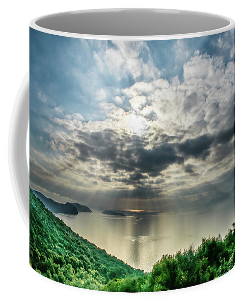 Landscape. Seascape. Sea. Nature. Islands. Sunlight. Coffee Mug featuring the photograph Poros Seaview#4 by Yau Ming Low