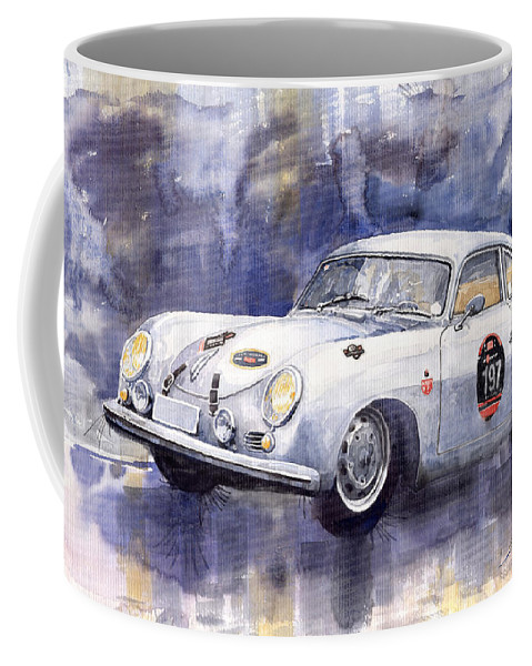 Watercolour Coffee Mug featuring the painting Porsche 356 Coupe by Yuriy Shevchuk