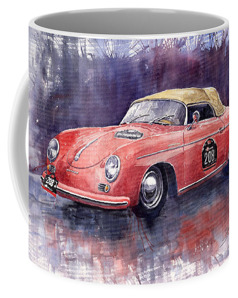 Watercolour Coffee Mug featuring the painting Porsche 356 Speedster Mille Miglia by Yuriy Shevchuk