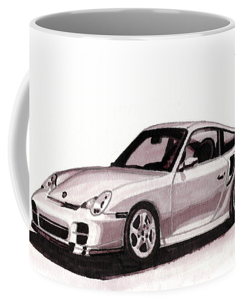Car Coffee Mug featuring the mixed media Porsche by Alban Dizdari