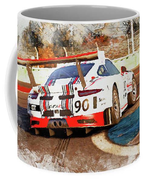 Porsche Gt3 Coffee Mug featuring the painting Porsche Gt3 Martini Racing - 02 by Andrea Mazzocchetti