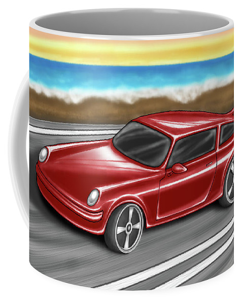 Car Coffee Mug featuring the digital art Porsche by Tahir Tahirov
