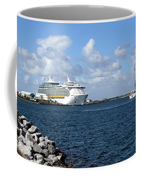 Cruise; Ships; Cruiseship; Ocean; Liner; Oceanliner; Port; Canaveral; Florida; Harbor; Harbour; Blue Coffee Mug featuring the photograph Port Canaveral In Floirda by Allan Hughes