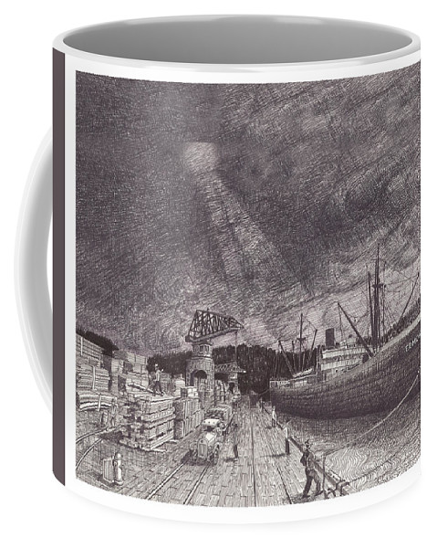 Port Of Tacoma Coffee Mug featuring the drawing Port Of Tacoma Wa Waterfront by Jack Pumphrey
