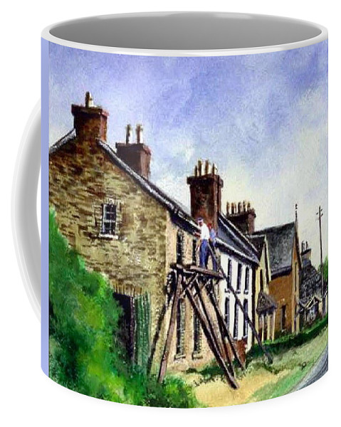 Water Color Coffee Mug featuring the painting Port Rush Gutter Repair by Jim Gola