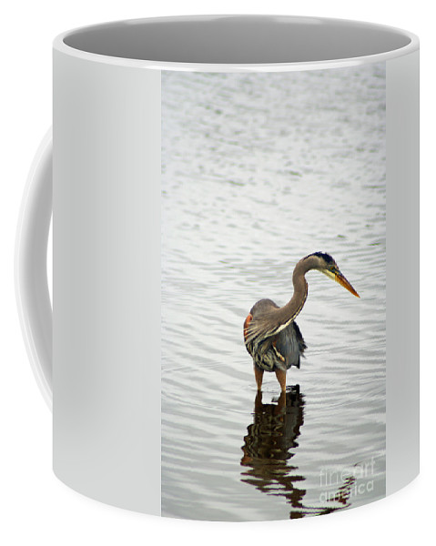 Blue Heron Coffee Mug featuring the photograph Port Townsend Blue Heron Series by Louise Magno
