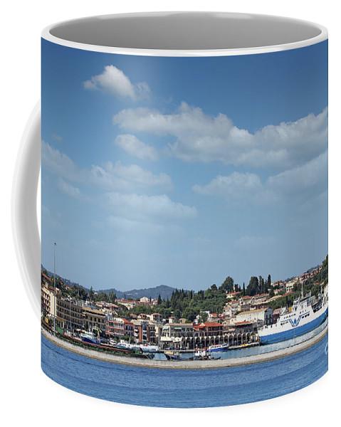 Corfu Coffee Mug featuring the photograph port with ferry boats Corfu Greece by Goce Risteski