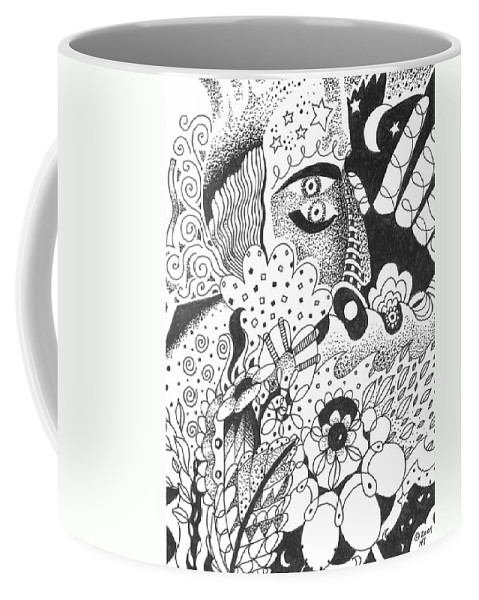 Awakening Coffee Mug featuring the drawing Portals by Helena Tiainen