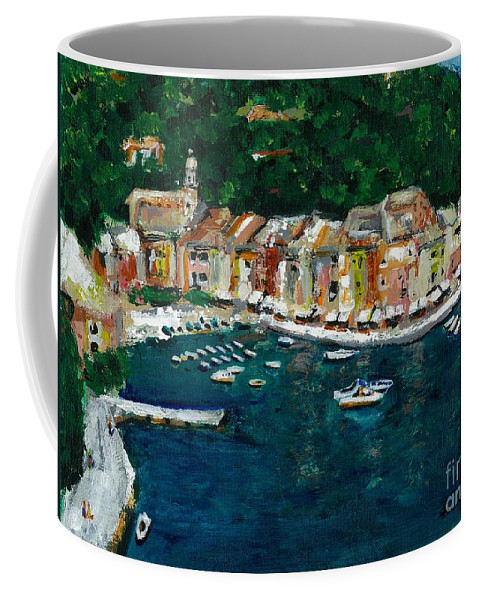 Abstact Italy Coffee Mug featuring the painting Portifino Italy by Frances Marino