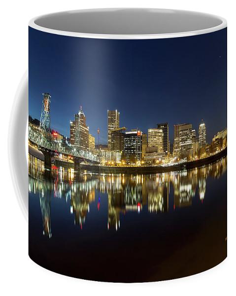 Portland Coffee Mug featuring the photograph Portland City Skyline Reflection On Willamette River by Jit Lim