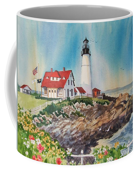 Portland Me Lighthouse Coffee Mug featuring the painting Portland Head Light by Dianna Willman