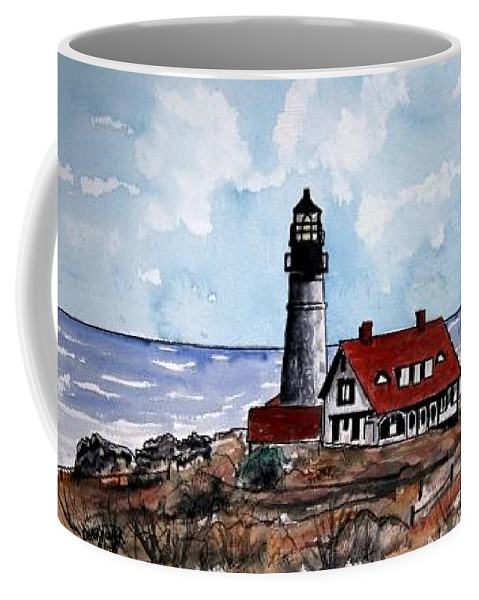 Lighthouse Paintings Coffee Mug featuring the painting Portland Head Lighthouse by Derek Mccrea