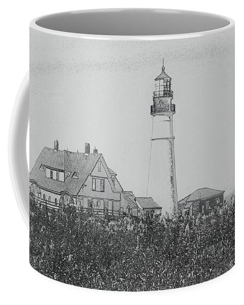 Lighthouse Coffee Mug featuring the photograph Portland Sketch by Kim Blaylock
