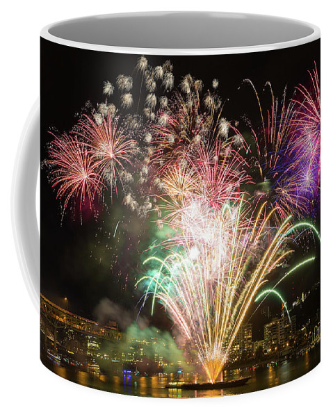 Fourth Coffee Mug featuring the photograph Portland Waterfront 4th Of July Fireworks by David Gn