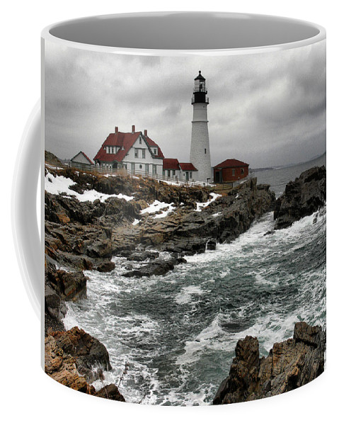 New England Lighthouse Coffee Mug featuring the photograph Portlandhead Lighthouse by Nancie DeMellia