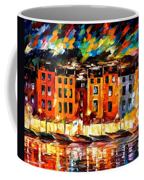Afremov Coffee Mug featuring the painting Portofino - Liguria Italy by Leonid Afremov