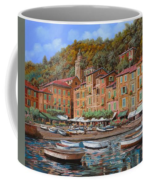 Portofino Coffee Mug featuring the painting Portofino-la Piazzetta E Le Barche by Guido Borelli