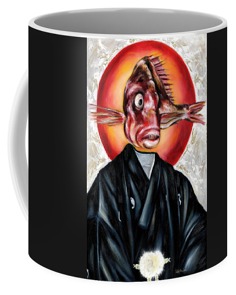 Japanese Coffee Mug featuring the painting Portrait by Hiroko Sakai