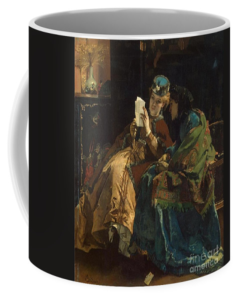 Alfred Stevens Coffee Mug featuring the painting Portrait Of A Lady by MotionAge Designs
