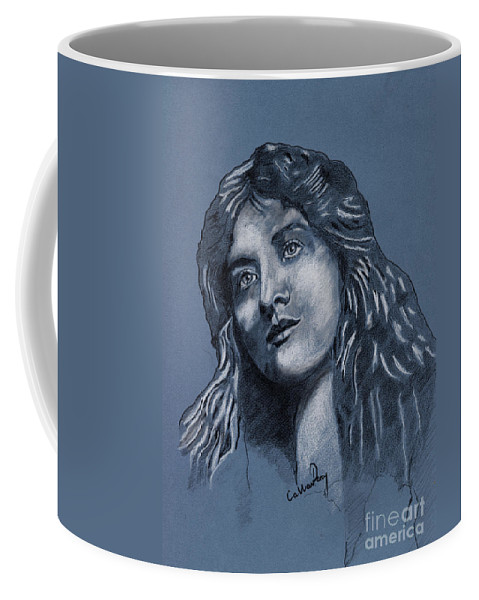 Portrait Coffee Mug featuring the drawing Portrait Of A Lady by Callan Art