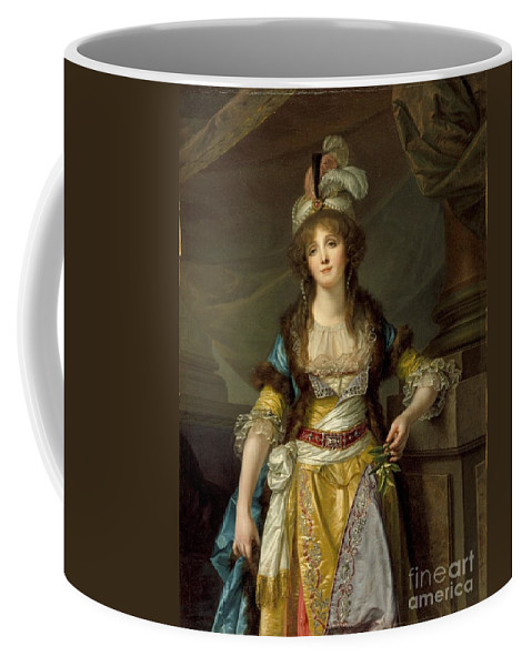 Portrait Of A Lady In Turkish Fancy Dress Coffee Mug featuring the painting Portrait Of A Lady In Turkish Fancy Dress by MotionAge Designs