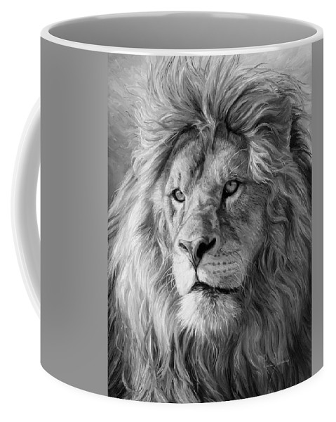 Portrait Of A Lion Black And White Coffee Mug For Sale By Lucie Bilodeau