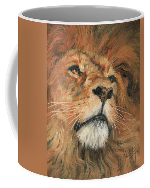 Lion Coffee Mug featuring the painting Portrait Of A Lion by David Stribbling