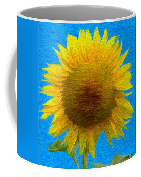 Blue Coffee Mug featuring the painting Portrait Of A Sunflower by Jeffrey Kolker