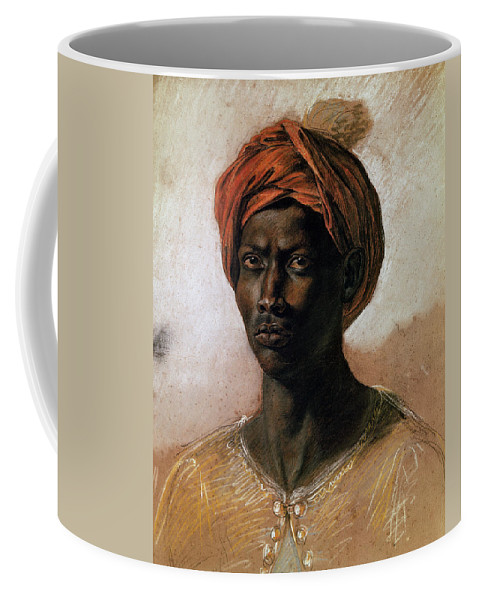 Portrait Coffee Mug featuring the painting Portrait Of A Turk In A Turban by Ferdinand Victor Eugene Delacroix