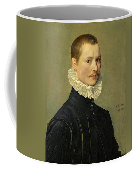 Attributed To Federico Zuccari Coffee Mug featuring the painting Portrait Of A Young Gentleman Head And Shoulders At The Age Of 23 by Attributed to Federico Zuccari