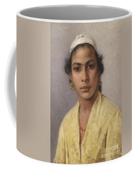 Portrait Of An Oriental Coffee Mug featuring the painting Portrait Of An Oriental by MotionAge Designs
