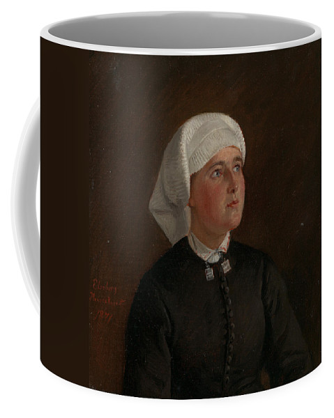 Norwegian Art Coffee Mug featuring the painting Portrait Of Elseberg Herrestvedt by Adolph Tidemand