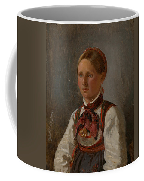 Norwegian Art Coffee Mug featuring the painting Portrait Of Gunild Olsdatter From Tinn by Adolph Tidemand