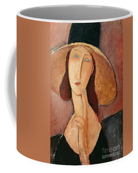 Portrait Coffee Mug featuring the painting Portrait Of Jeanne Hebuterne In A Large Hat by Amedeo Modigliani