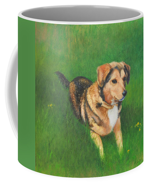 Dog Coffee Mug featuring the painting Portrait Of Kecia by Phyllis Tarlow