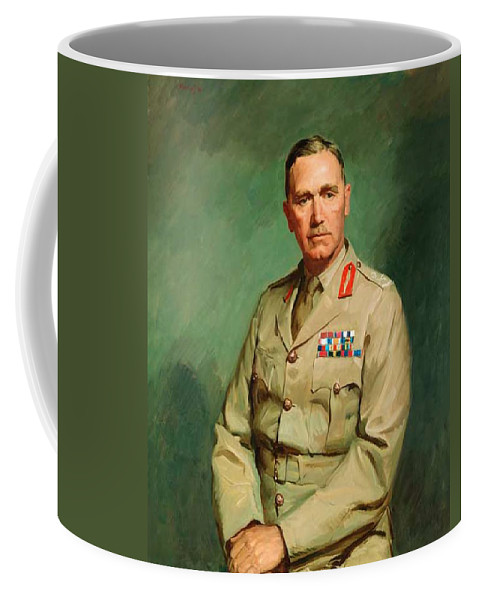 Painting Coffee Mug featuring the painting Portrait Of Lieutenant - General The Honorable Sir Edmund Herring by Mountain Dreams