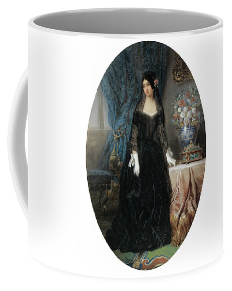 Jean-charles Olivier ; Portrait Of Marie Duplessis Coffee Mug featuring the painting Portrait Of Marie Duplessis by Charles Olivier
