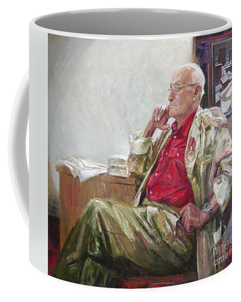 Oil Coffee Mug featuring the painting Portrait Of May Dancig by Sergey Ignatenko