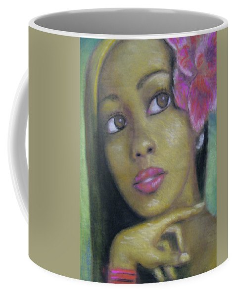 Drawing Coffee Mug featuring the drawing Portrait Of Monica by Jan Gilmore