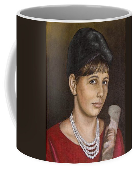 Portrait Coffee Mug featuring the painting Portrait Of My Mother Early Sixties by Rob De Vries