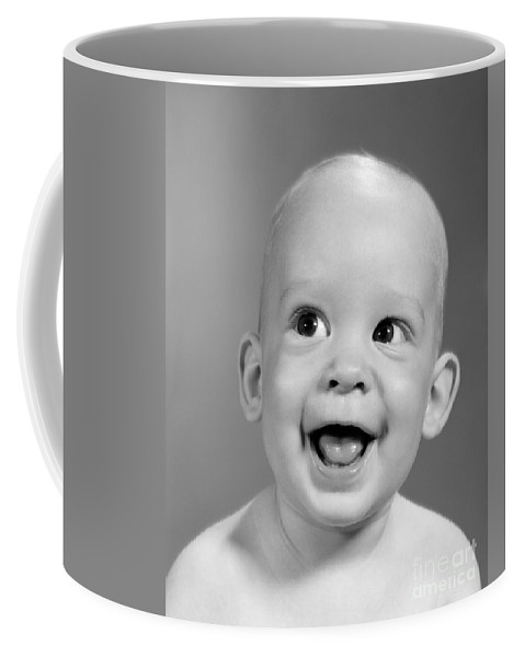 1960s Coffee Mug featuring the photograph Portrait Of Nearly Bald Baby, C.1960s by H Armstrong Roberts ClassicStock