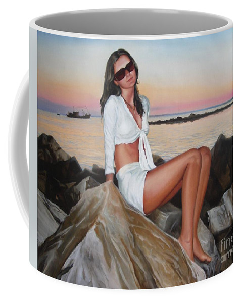 Art Coffee Mug featuring the painting Portrait by Sergey Ignatenko